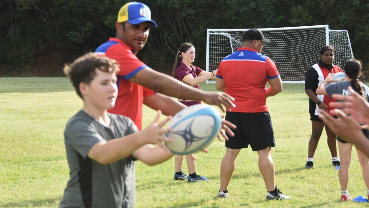 Dozens of junior rugby union players turned out to the Rugby Skills Academy Clinic at Trinity College Gladstone yesterday.