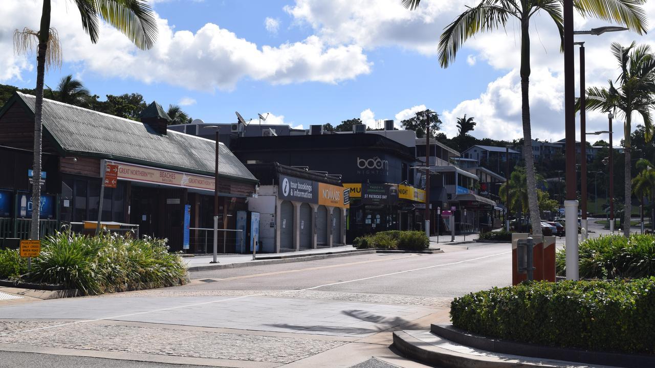 The deserted Airlie Beach Main Street.