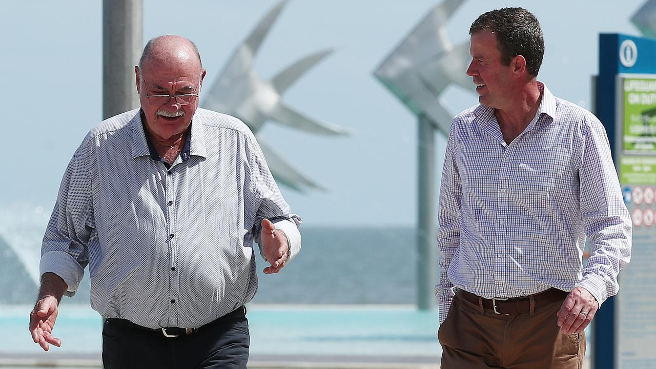 Member for Leichhardt Warren Entsch speaks with Federal Minister for Trade, Tourism and Investment Dan Tehan at the Cairns Esplanade Lagoon about the desperate plight of the Cairns tourism industry. Picture: Brendan Radke