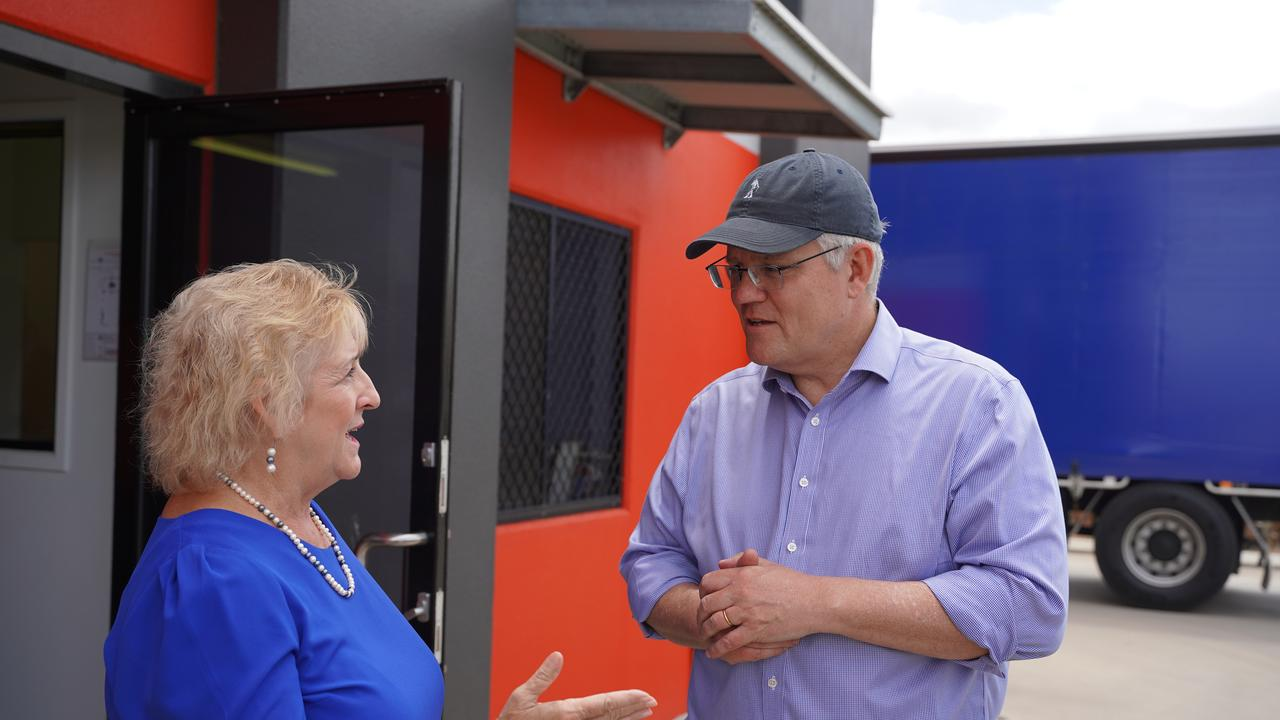Member for Capricornia Michelle Landry and Prime Minister Scott Morrison talking during his visit to Rockhampton. Ms Landry is warning people to get information about the COVID-19 vaccine rollout from trusted government sources.