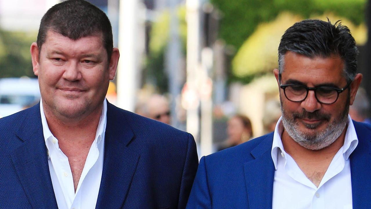 James Packer and Andrew Demetriou in Melbourne. Picture: Aaron Francis