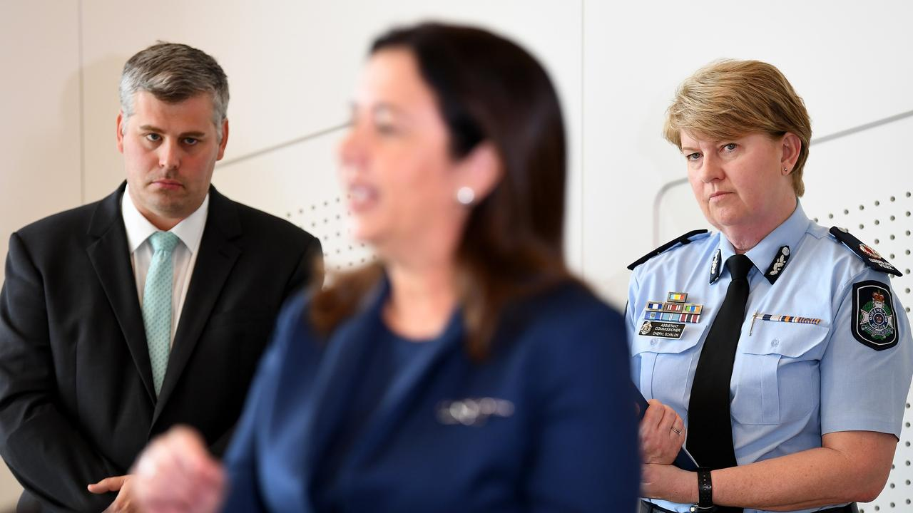 Queensland Premier Annastacia Palaszczuk (centre) is watched by Police Minister Mark Ryan and Assistant Commissioner Cheryl Scanlon as she speaks during a press conference in Brisbane. Ms Palaszczuk announced the establishment of a new Youth Crime Taskforce. Picture: NCA NewsWire / Dan Peled