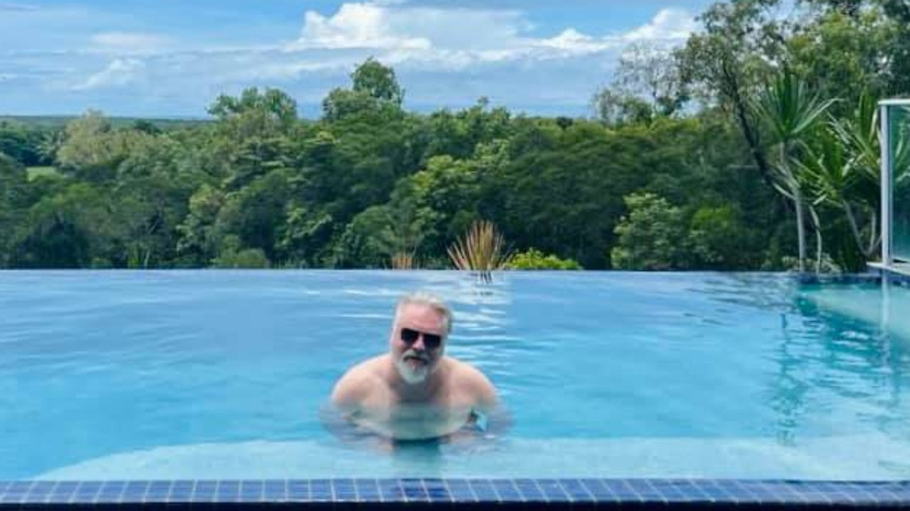 Kyle Sandilands soaks up (too much) sun in the infinity pool at his new Mowbray home. PICTURE: SUPPLIED