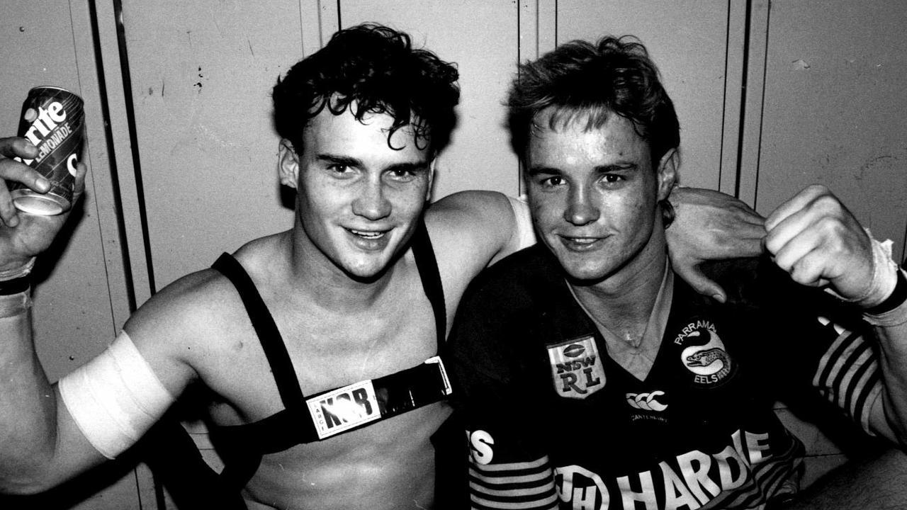 Glen Liddiard (L) and Scott Mahon (R) ion 1991 in his days with Parramatta.