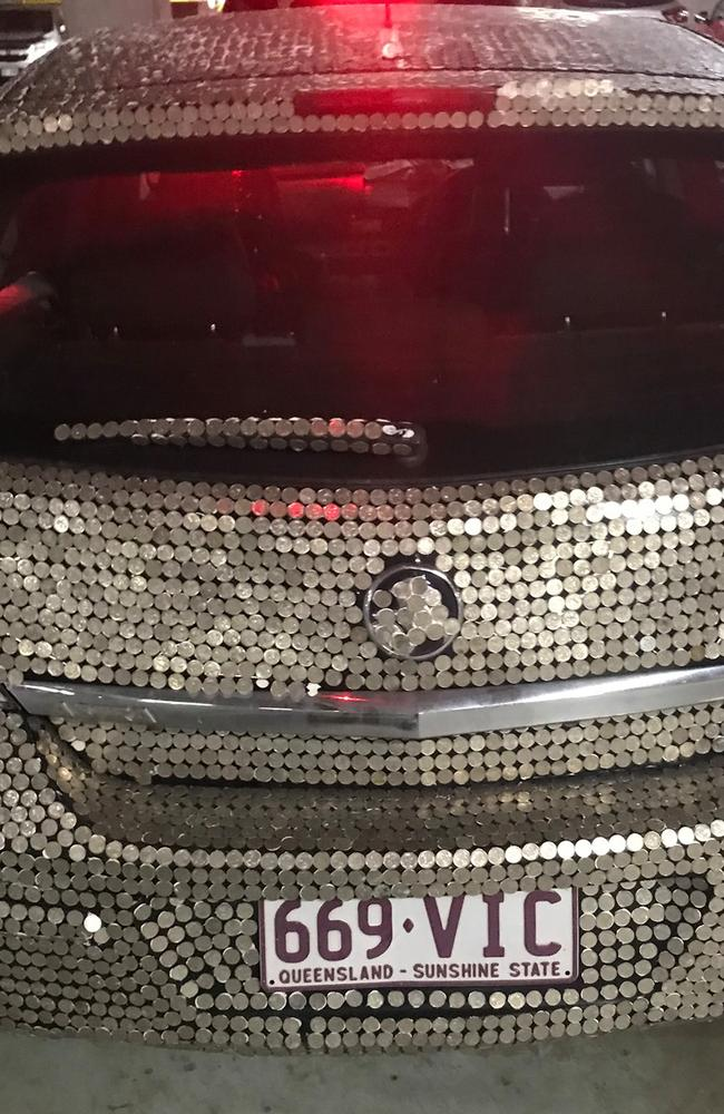 Marty and Michael's bedazzled Holden Astra is being shared far and wide online. Pic: Facebook