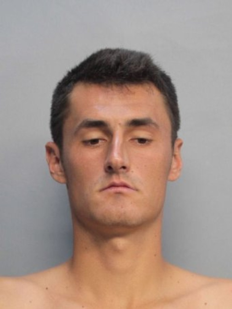 This Miami Beach Police Department mug shot obtained July 16, 2015 shows Bernard Tomic. Australian tennis player Bernard Tomic. MIAMI BEACH POLICE DEPARTMENT