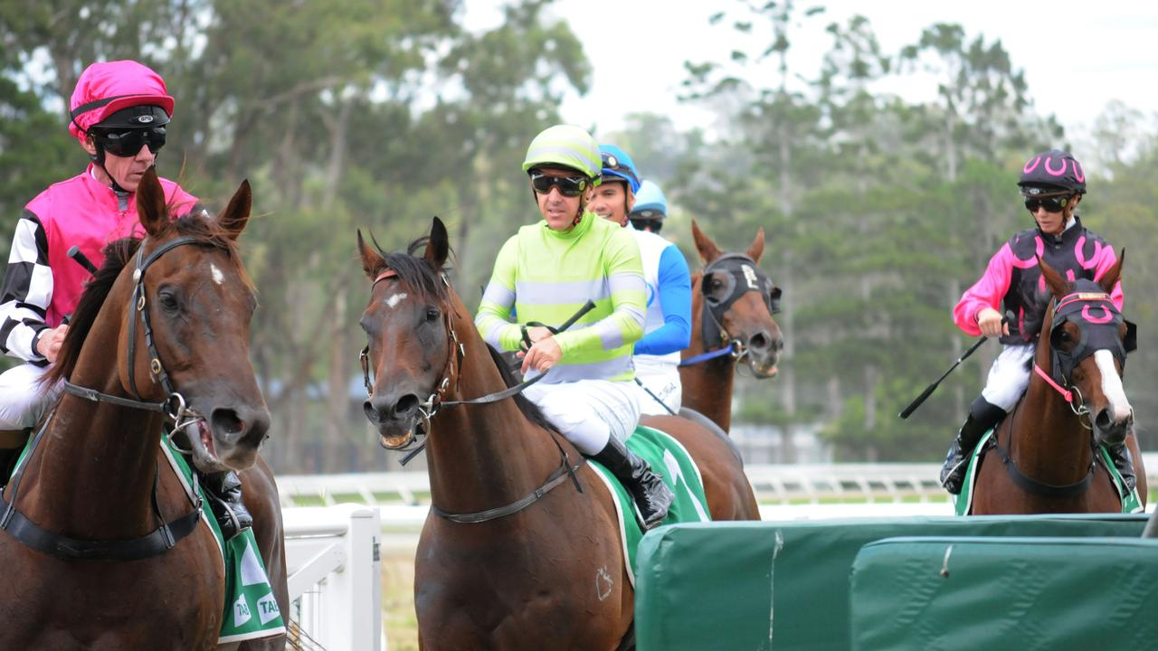 Ipswich race winner Chauffeur (middle), ridden by Ryan Maloney and trained by David Vandyke. Picture: Claire Power