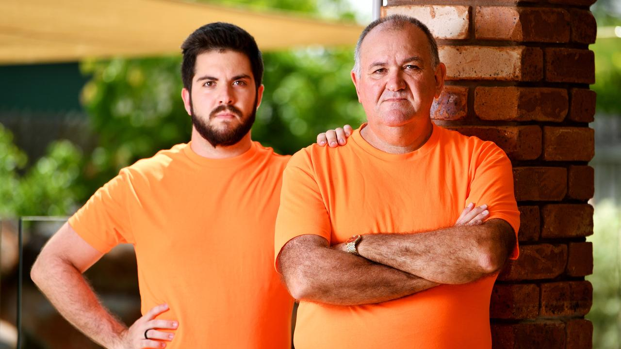 Former Townsville police officer Brett Geiszler, with son Dean 24, speak out about the Premier's new youth crime changes. Picture: Alix Sweeney