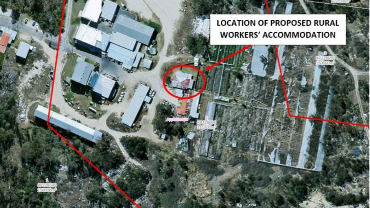 Proposed location for a new six-bedroom accommodation spot on an Applethorpe strawberry farm. Picture: SDRC