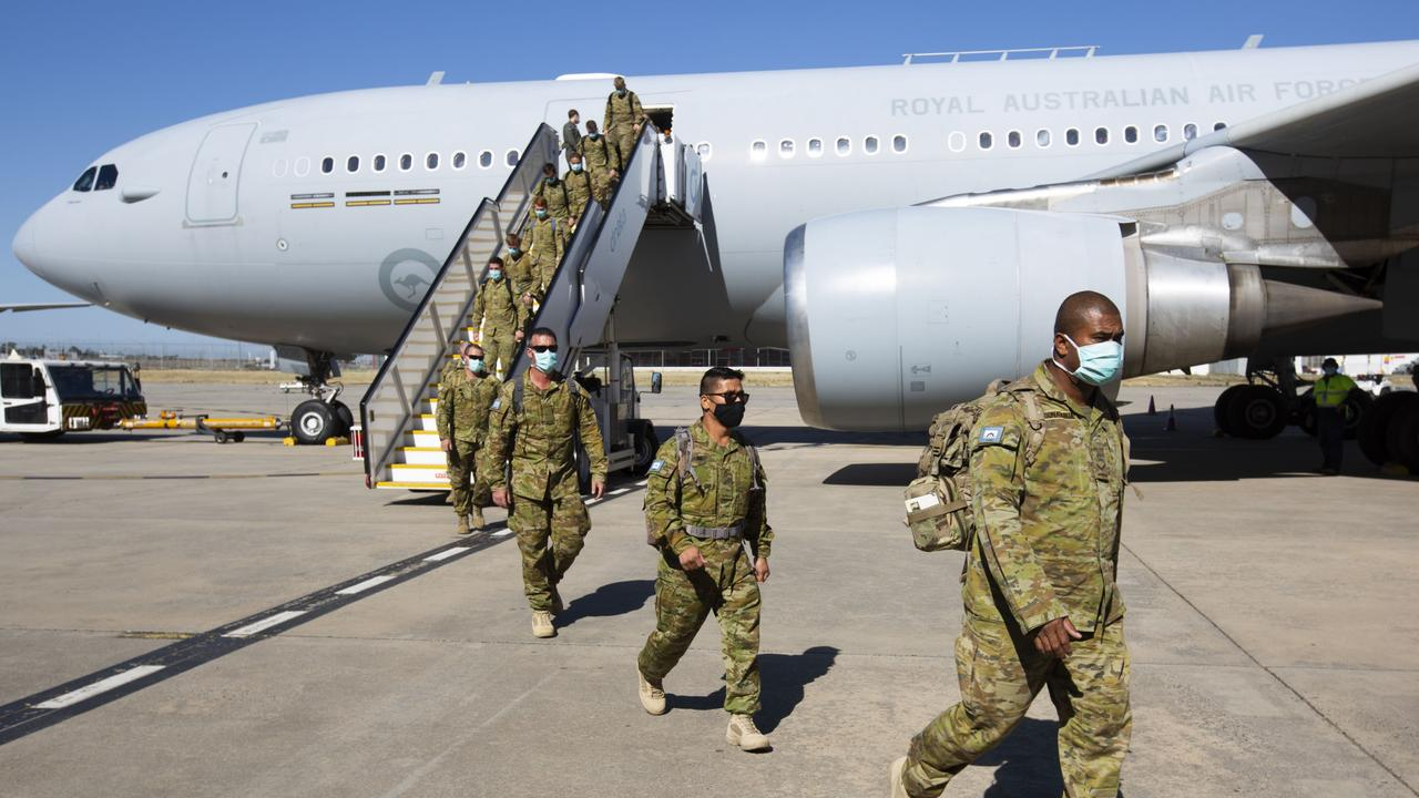 Australian Army personnel from the The 3rd Battalion, Royal Australian Regiment, based in Townsville, arrive in Melbourne as they prepare to support Victoria Police with hotel quarantine of international arrivals. Picture: Defence
