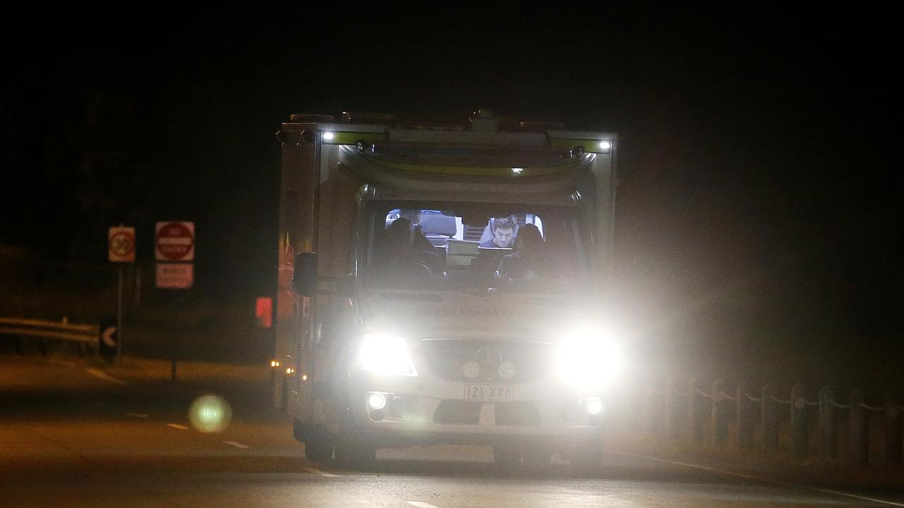 An ambulance on its way to hospital after air ambulance landed in Brisbane. Picture: Joshn Woning/AAP