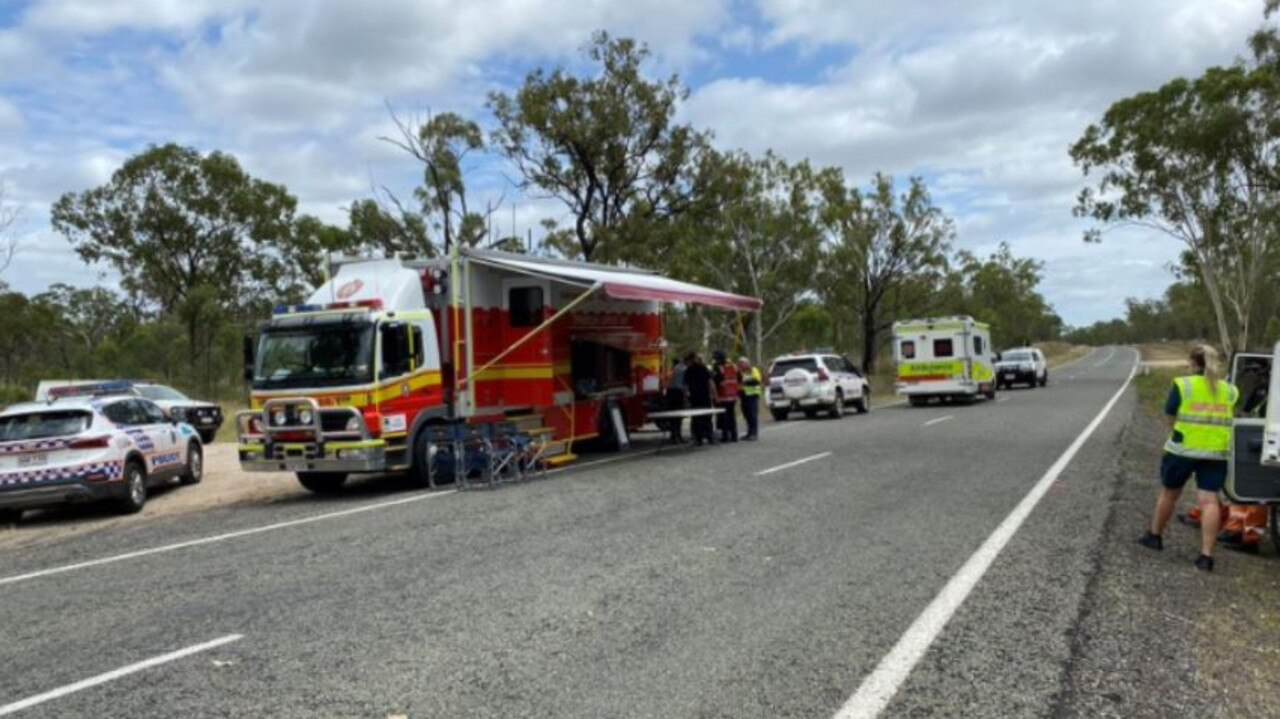 Emergency services near the exclusion zone at Valkyrie. Picture: QAS