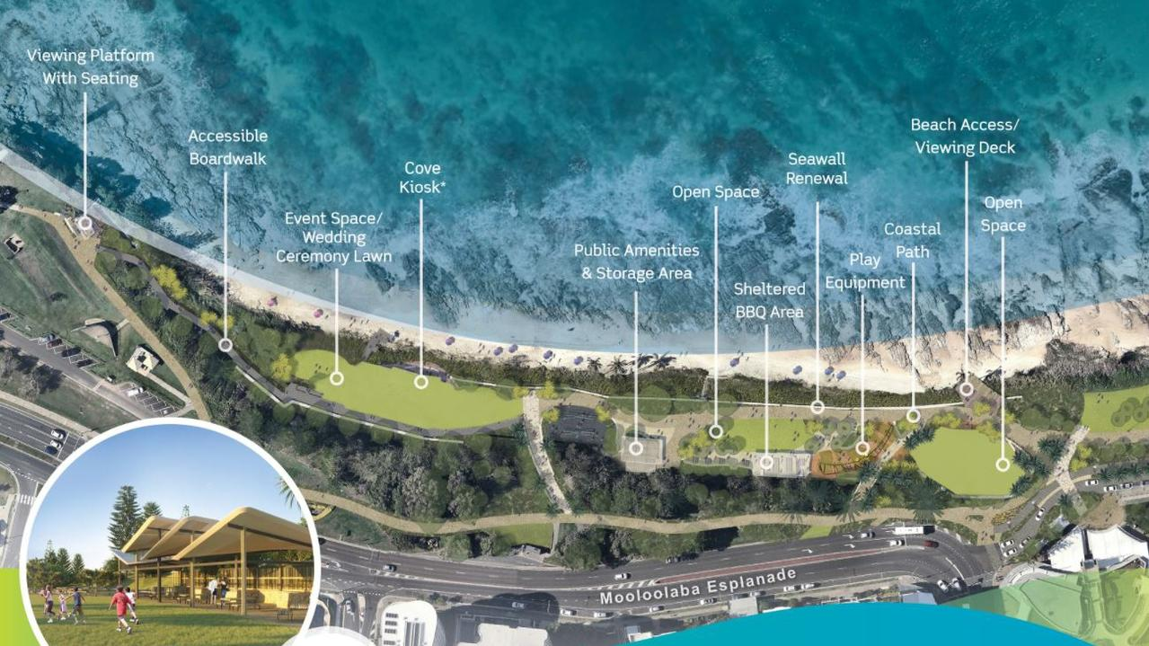Plans and artist impressions released before work started on the Mooloolaba Foreshore redevelopment.