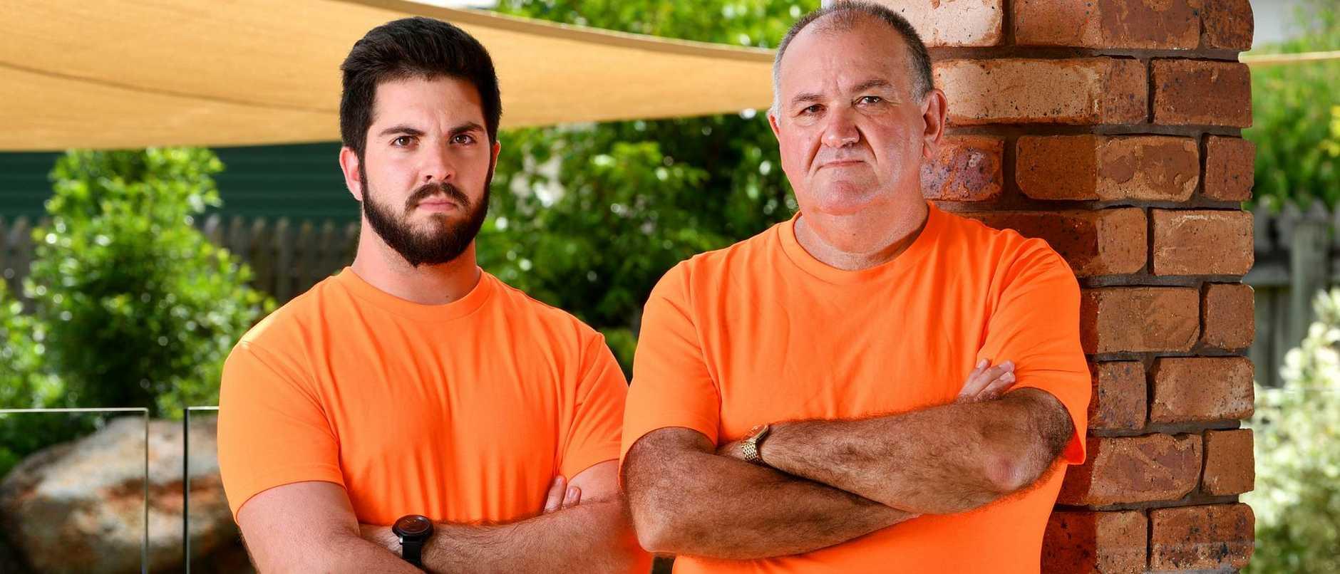 Former Townsville police officer Brett Geiszler, with son Dean 24.
