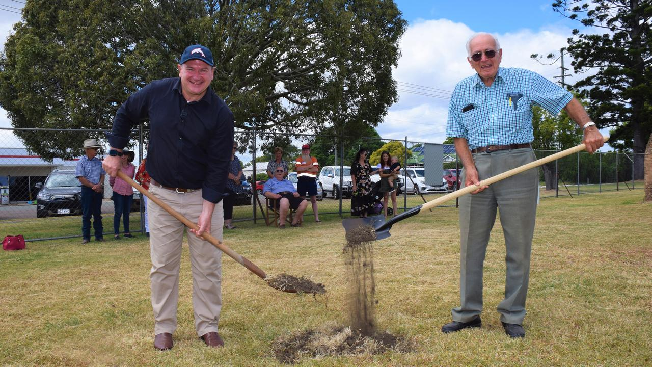 Federal Member for Wide Bay with Murgon Creative Coutnry Association president Richard O'Neil turning the first sod at the Murgon Cultural Centre and Fossil Museum. Photo/Tristan Evert