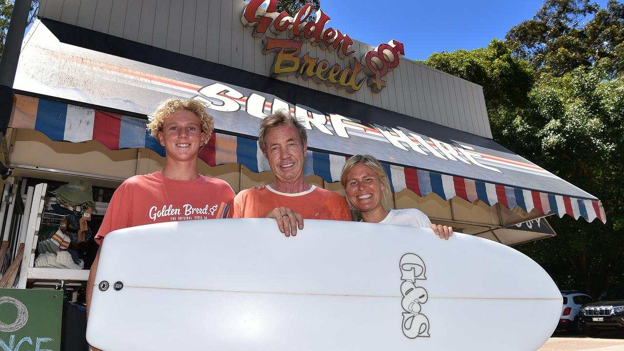 Noosa Golden Breed owner Nick van de Merwe (centre) pictured in 2019, with Matt Bain and Insa Rassau, is looking for to opening his new flagship store hopefully by Christmas.