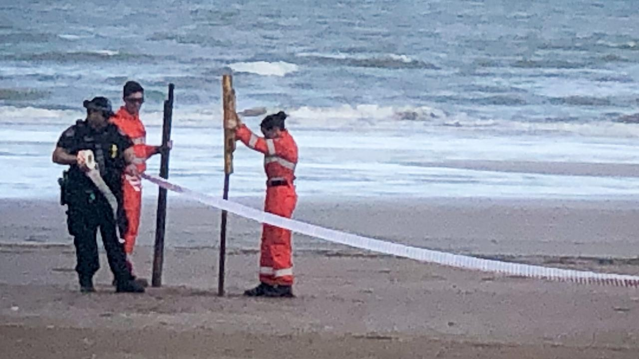 A crime scene has been set up following the discovery of a body on Casuarina Beach.