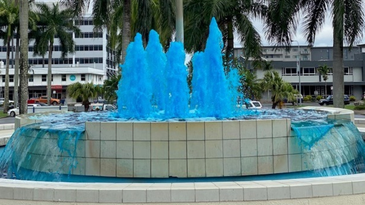 The Civic Precinct Fountain on Gordon St sports a different colour each week to raise awareness for various issues. Picture: Contributed