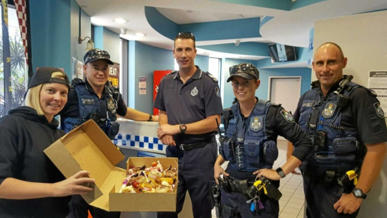 Sammy Jo Stenberg delivering doughnuts to the Mackay Police Station. Picture: File.