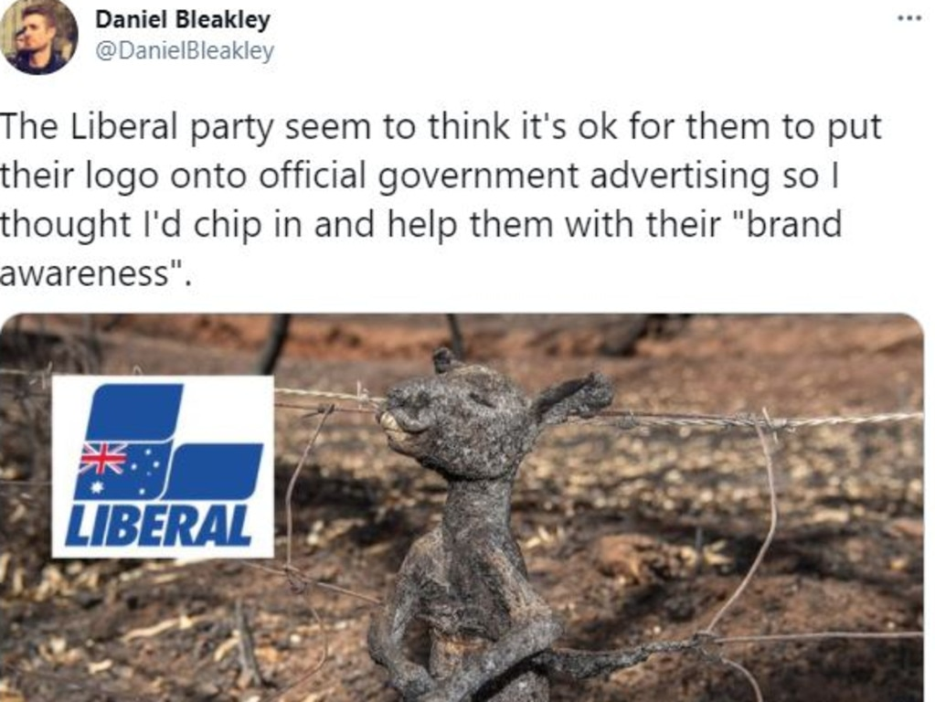 Posts targeted the Liberal Party over their handling of the bushfire crisis.