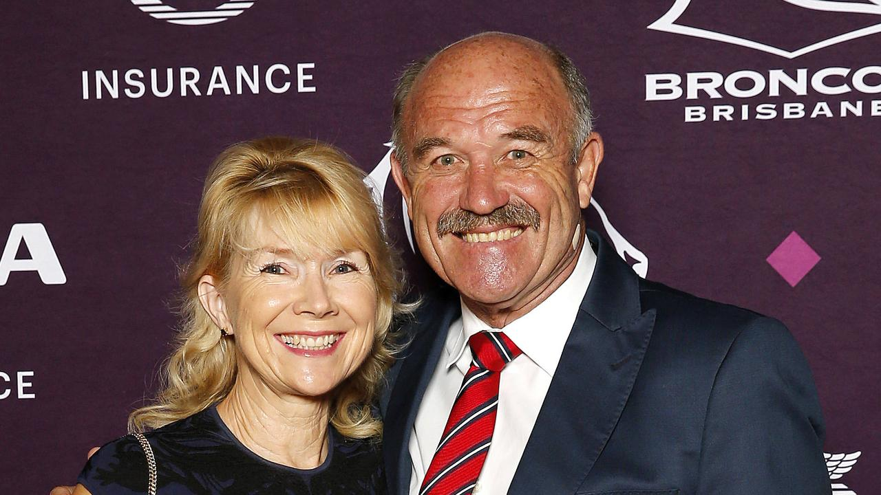 Jackie and Wally Lewis posing at a Broncos function in 2019. Picture: Josh Woning.