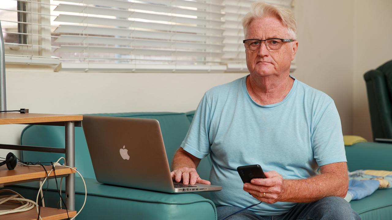 Gary Robinson, at home in Earlwood, Sydney. Gary recently moved back to Sydney and tried to have the NBN connected but due to an equipment shortage has been told he won't be connected for at least six months. Picture: Justin Lloyd