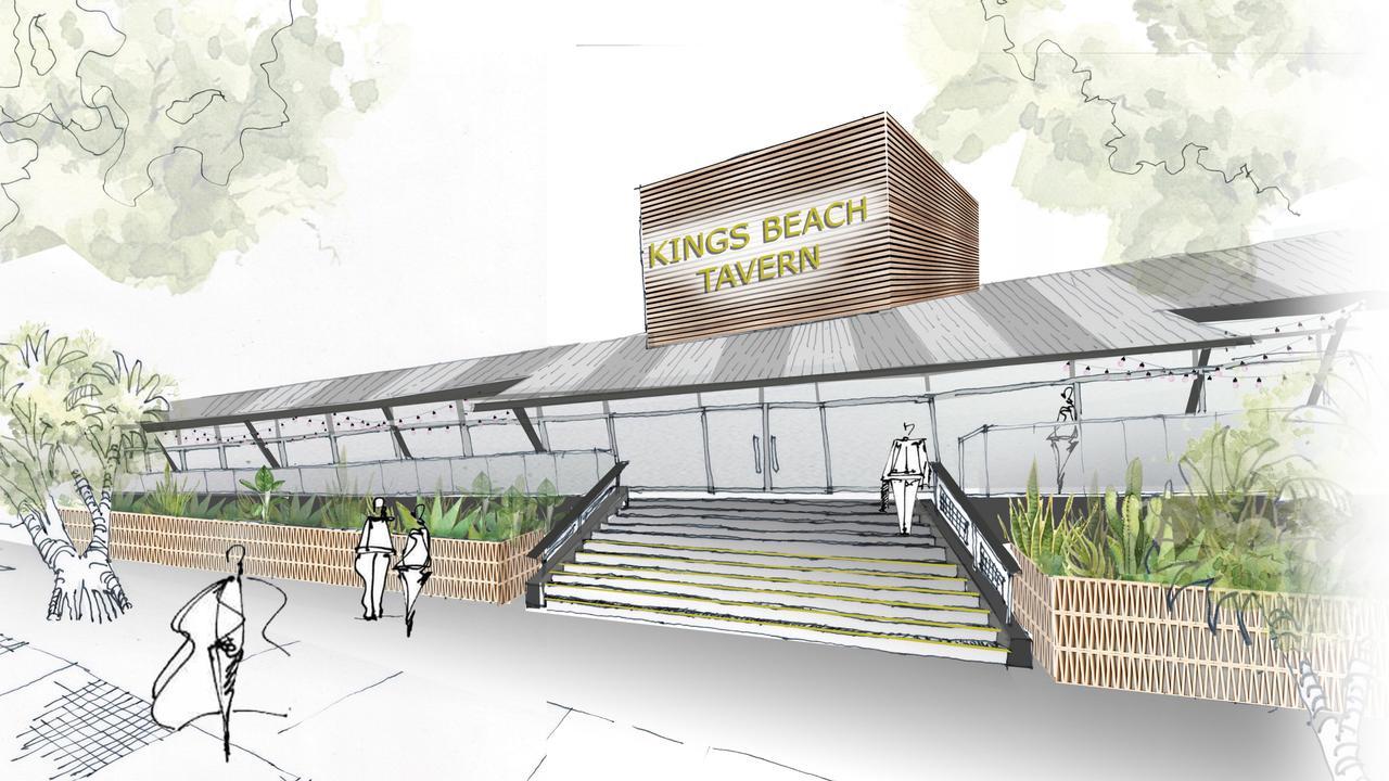 An artist's impression of the new Kings Beach Tavern on the Sunshine Coast.