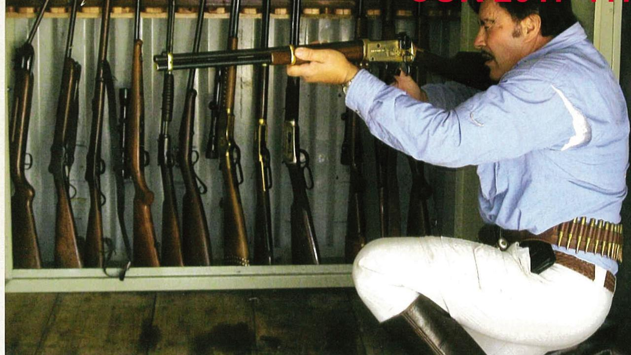 Charles Bisucci was prohibited from owning guns, but photos tendered to the Coroner's Court showed him with his secret stash after friends registered firearms for him in their names. Picture: Supplied