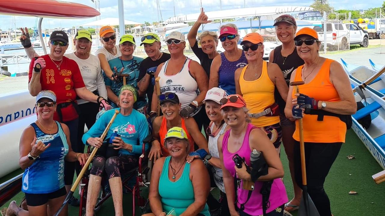Accomplished Mooloolaba Outrigger Canoe Club member Heather Atkinson (wheelchair) passed away earlier this week at the age of 74.