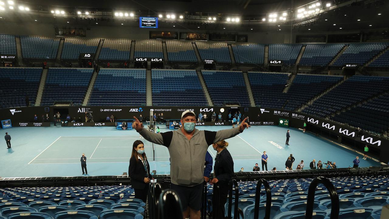 Fans exit Rod Laver Arena. Picture: Michael Klein