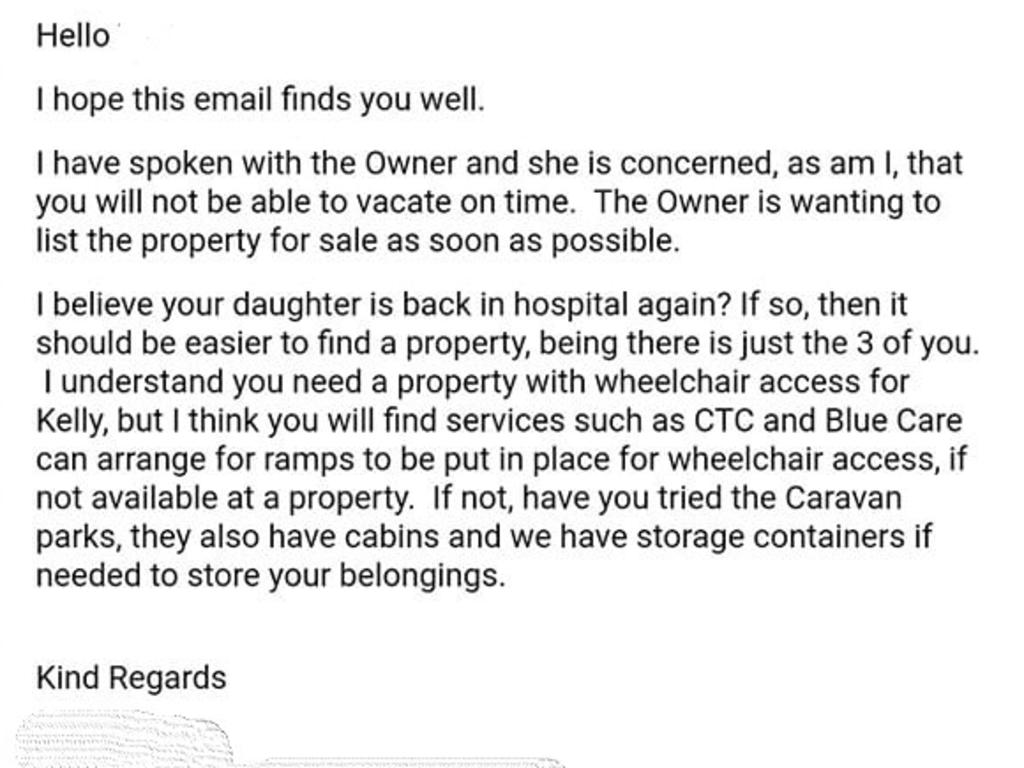 An email allegedly sent by a real estate agent to some tenants. Picture: Supplied
