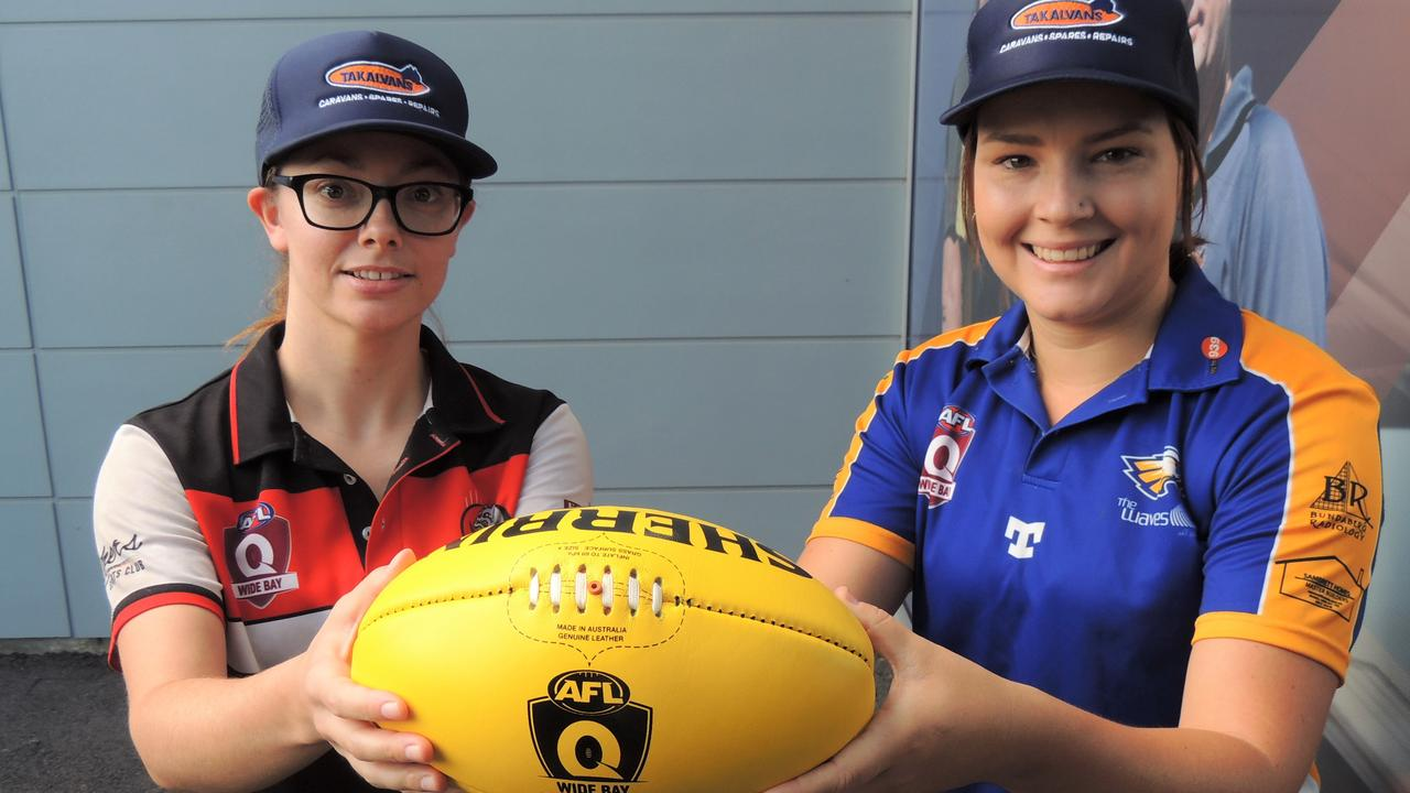 KICKING GOALS: Brothers Bulldogs' Captain Emily Reinke and Waves Eagles' Captain Kayla Osborn are eager for the AFL Wide Bay Women's competition to kick off this weekend.