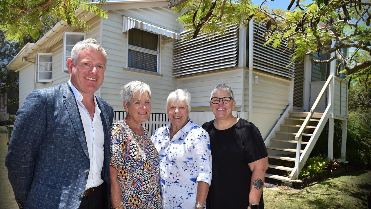 Developer Matt Stanley, Marcia Gill with sister in law Valerie Nelson and Debbie Gill outside their former family homes on Beach Rd.