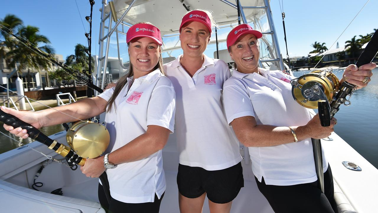 Renee Nugent, Christie Turner and Debbie Dahl ahead of the Billfish Babes Game fishing competition at Mooloolaba in 2018. Picture: File