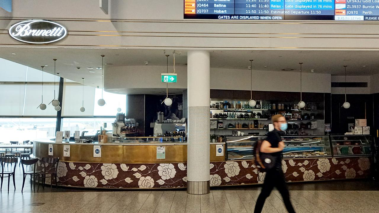 The Brunetti Cafe at Terminal 4 at Melbourne Airport has been closed after it was linked to the most recent COVID cluster. Picture: Andrew Henshaw.