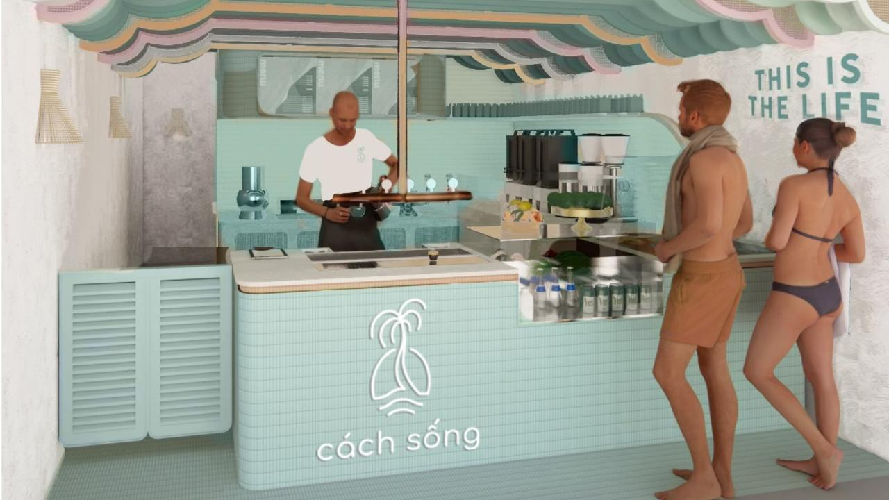 A concept design of new cafe Cach Song, which is set to open next month on Noosa's Hastings St.