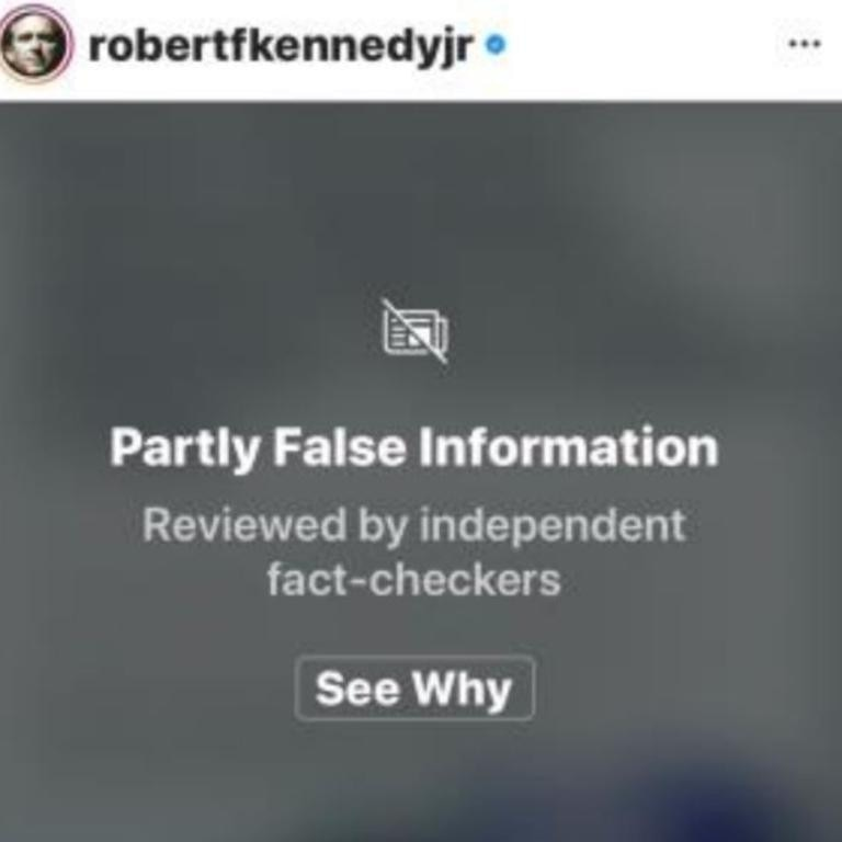 A screenshot of a post from Robert F. Kennedy Jr that had been flagged as containing partly false information.