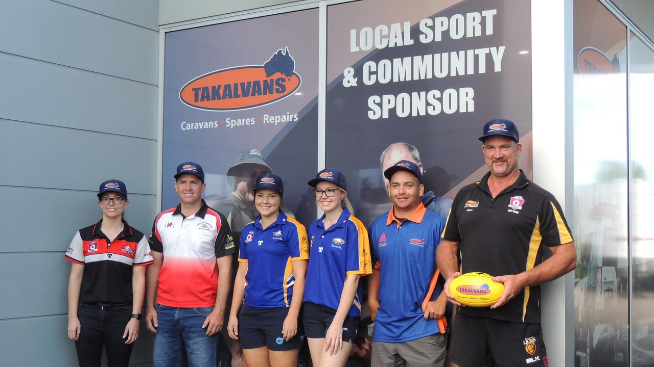 READY TO RUN: Emily Reinke (Bulldogs captain), Griffin Webb (Bulldogs coach), Kayla Osborn (Eagles captain), olivia Wightman (Eagles vice-captain), Micheal Blair (Eagles coach) and Mark Mason from AFL Wide Bay.