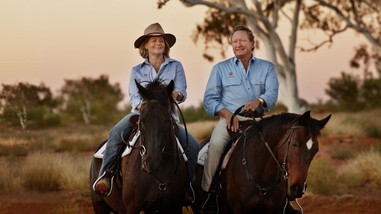 Philanthropist Andrew Forrest, pictured with wife Nicola, sees a green hydrogen future. Picture: Supplied