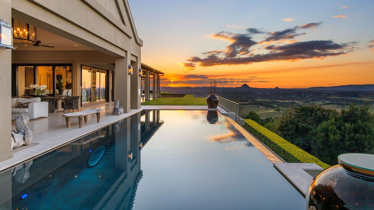 With a list of features bigger than the 160 sqm walk-in wardrobe, the Cooroy Mountain Stonelea property is one of a kind, with the pool its centrepiece.