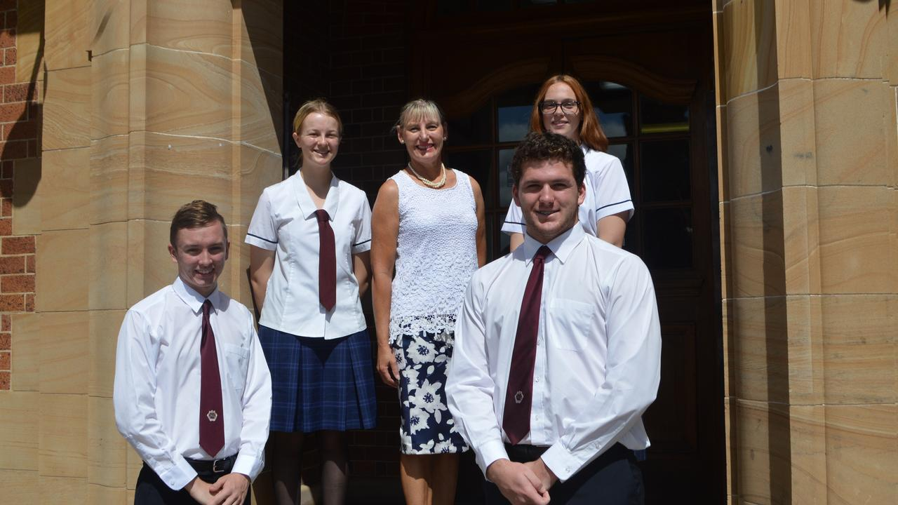 ENDLESS OPPORTUNITIES: Vice-captains Matthew Strom and Bridget Noble with Principal Joy Craig and captains Faith Jones and Angus Ridley.
