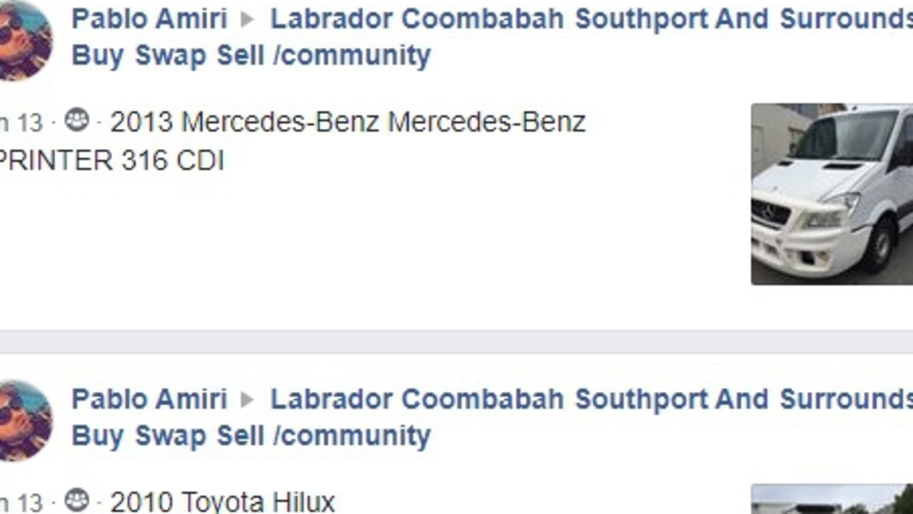 A screenshot of some of the vehicles Parvis 'Pablo' Amiri posted for sale on Facebook, despite the suspension of his motor dealer's licence. Picture: Facebook