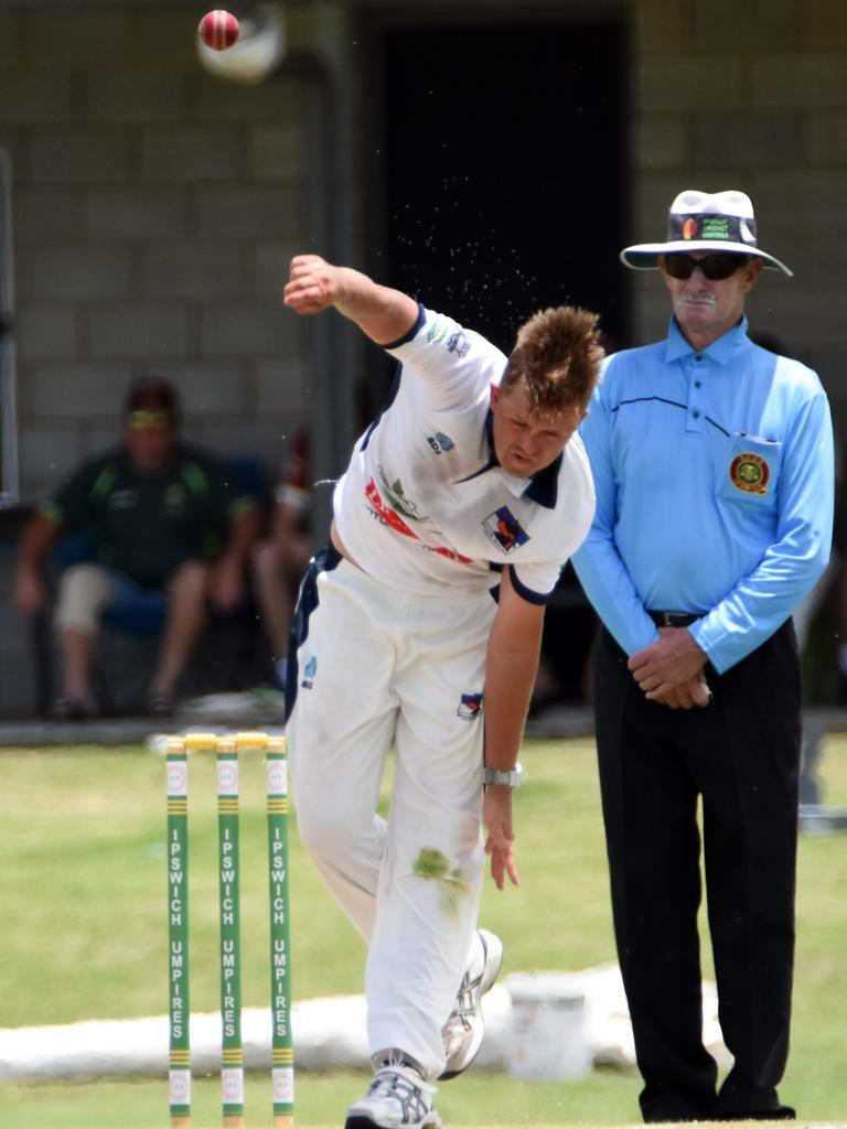 Laidley fast bowler Liam Dean added a hat-trick to his bowling feats in recent weeks. Picture: Gary Reid