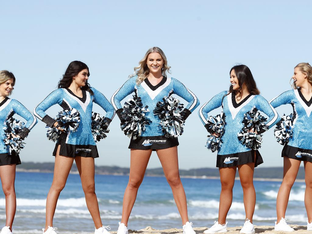 Cronulla Sharks cheerleaders pictured at Wanda Beach before the season starts up again. L to R, Steph Buncombe, Sassy Gallagher, Emma Dugley, Christina Tsafis and Ellie Bull. Picture: Sam Ruttyn