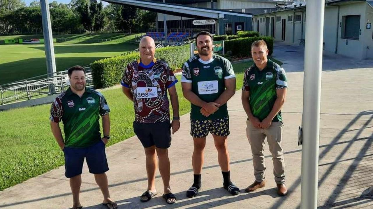 Preparing for the big game are (from left) Ipswich Indigenous All-Stars coach Ian Lacey, Rugby League Ipswich chairman Gary Parker, Ipswich All-Stars captain Zac Lemberg and All-Stars coach Scott Ireland. Picture: David Lems