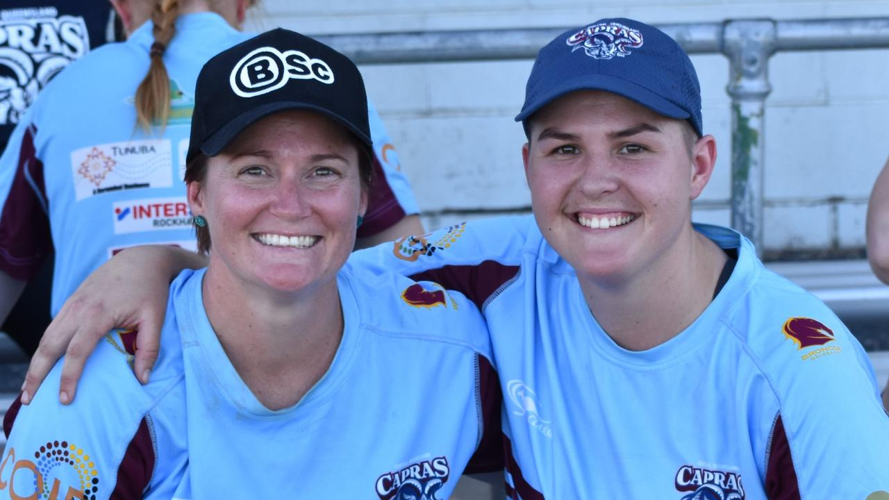 CQ Capras women's captain Chelsea Baker (left) and player Abbey Templeman take a break from the weekend training camp in Rockhampton.
