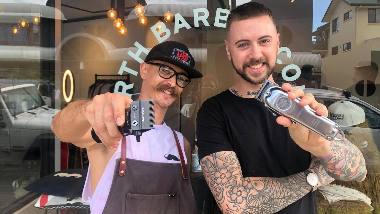 Handsome Devils Barber co-owner Jack Graham and Cutbacks by Bexon owner Justin Bexon are excited to open 43 Duporth Collective. Picture: Laura Pettigrew