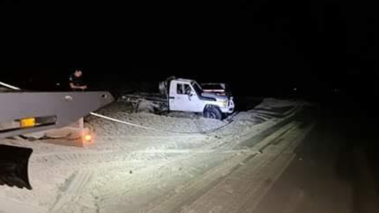 Claytons Towing is urging people to drive safely on beaches following a car rollover at Teewah Beach on Saturday night.