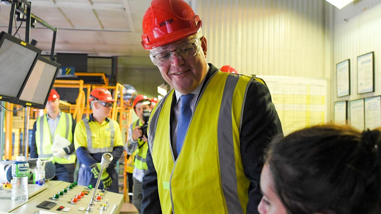 Prime Minister Scott Morrison attends a walk-through at BlueScope Steel in Port Kembla. Picture: NCA NewsWire / Simon Bullard.