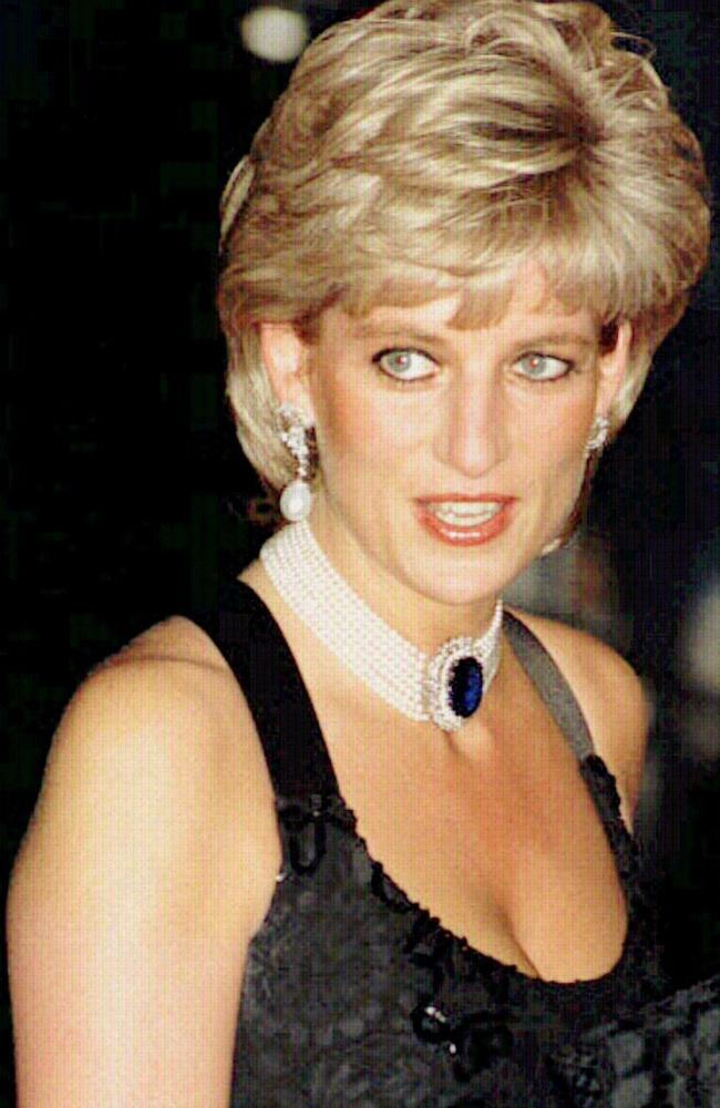 Princess Diana in 1995 at a celebrity gala charity dinner and fashion show in London just hours before taping the interview. Picture: David Cheskin/AP